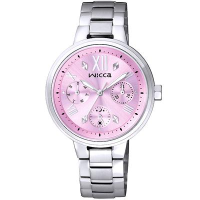 WICCA閃耀三眼時尚腕錶(BH7-512-91)-粉/34mm