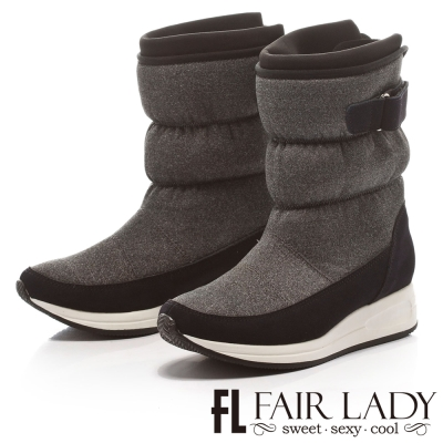 Fair Lady 摩登力量舖棉撞色太空靴 藍