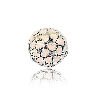 Pandora 潘朵拉 粉色琺瑯櫻花夾釦式 純銀墜飾 串珠