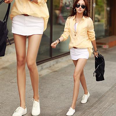 正韓 一片式拼接造型迷你短褲裙 (共二色)-N.C21