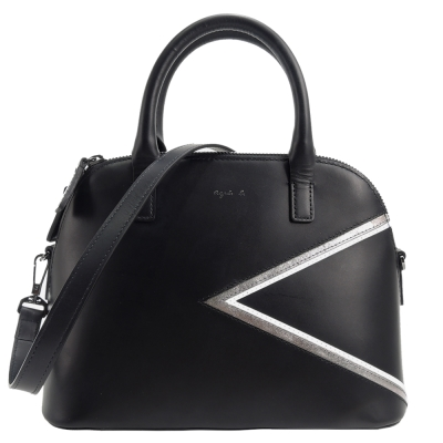 agnes b. 燙金logo三角幾何皮革饅頭包(黑/銀邊)