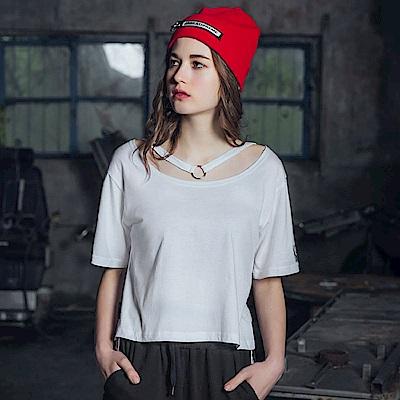 DADA SUPREME 性感頸環短袖上衣-女-白色