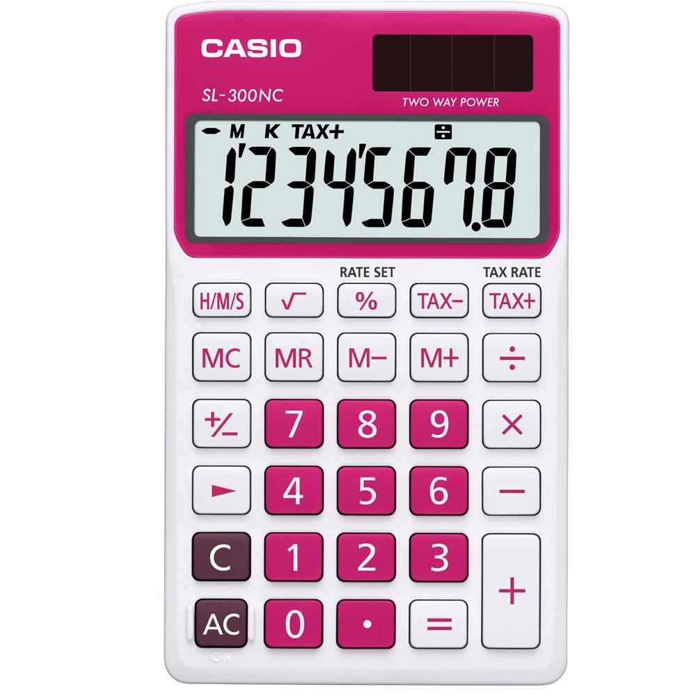 CASIO 8位數商務時尚輕巧攜帶型計算機(SL-300NC-RD)白/桃紅色