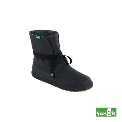 SANUK 內印民俗圖騰反折中筒靴-女款(黑色)