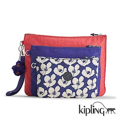 Kipling 化妝包 夏日花卉撞色印花-中