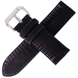 TED SU 太和錶帶賽車主題ALCANTARA錶帶沛納海大型錶代用黑色-26*26