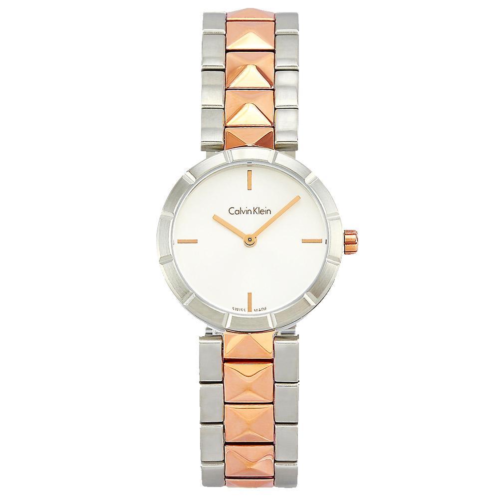 Calvin Klein CK前衛鉚釘女性腕錶-白x玫瑰金/30mm