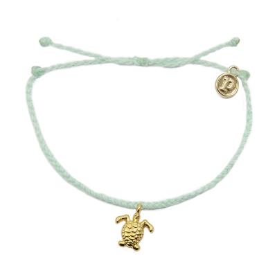 Pura Vida 美國手工 金色海龜  嫩綠色臘線可調式手鍊衝浪海灘防水手繩