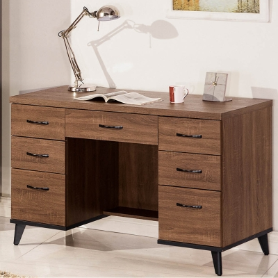 H&D 麥納得淺胡桃4尺書桌 (寬120X深59X高80.9cm)