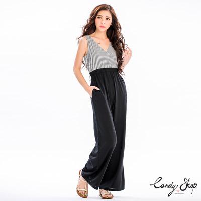Candy小舖-新品特色款-V領條紋背心連身寬褲-白色