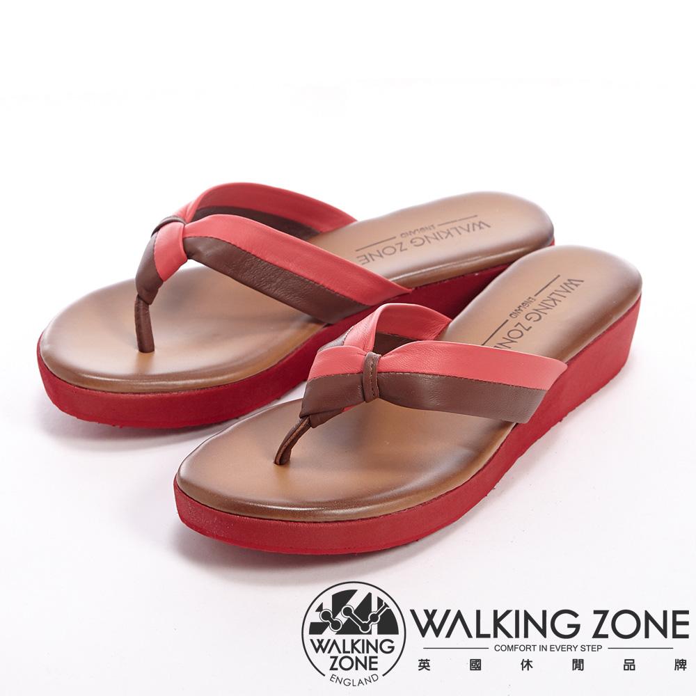 WALKING ZONE 設計跳色人字拖低跟涼鞋女鞋-紅