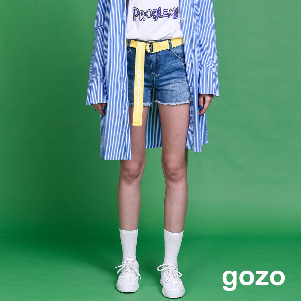 gozo 裁片拼接不修邊水洗丹寧短褲(二色)