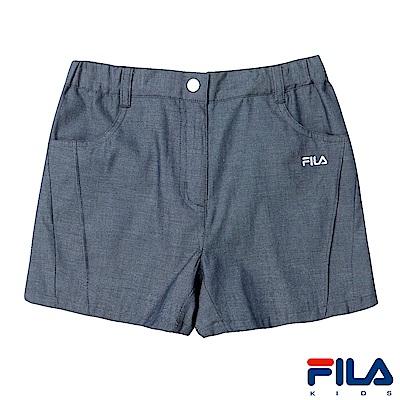 FILA KIDS 女童仿牛仔短褲-鐵灰 5SHS-4442-RG
