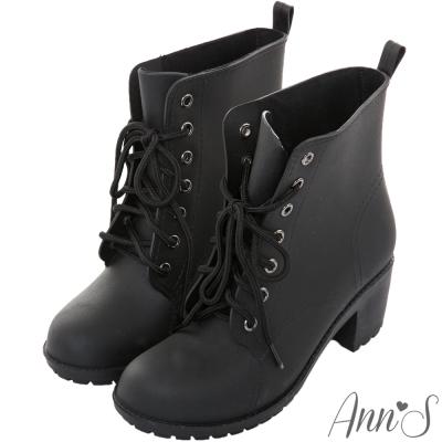 Ann'S摩登綁帶防水粗跟短雨靴-黑
