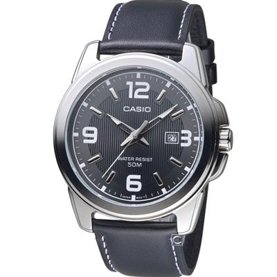 CASIO 簡約經典時尚皮帶腕錶(MTP-1314L-8A)灰/43mm