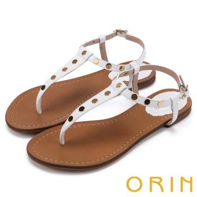 ORIN 夏日時尚風 個性鉚釘T字牛皮夾腳涼鞋-白色