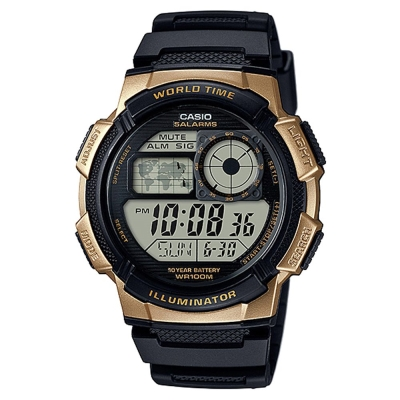 CASIO世界之城電子數位膠帶錶AE-1000W-1A3-金框X黑面43.7mm