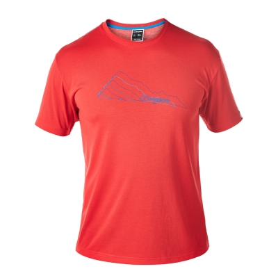 【Berghaus 貝豪斯】男款銀離子圖案T恤S04M08-紅