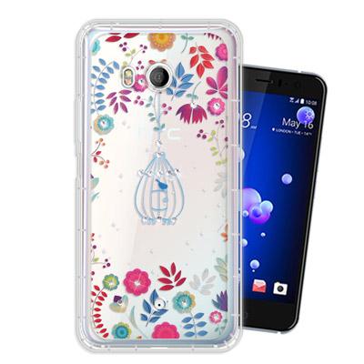 WT HTC U11 奧地利水晶彩繪空壓手機殼(鳥羽花萃)