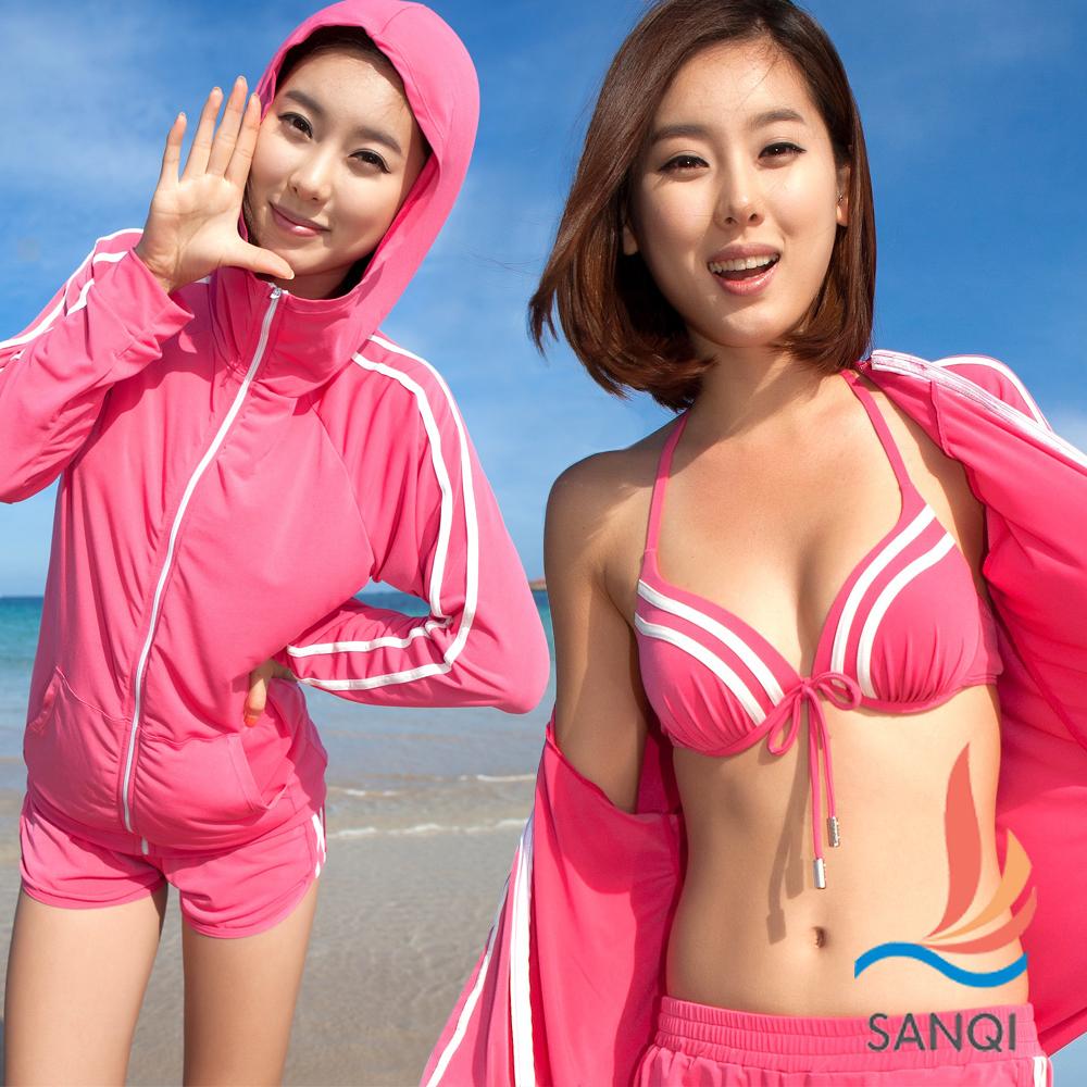 SANQI三奇 夏日運動風 四件式鋼圈比基尼泳衣(粉M.L)