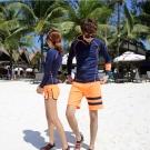 Biki比基尼妮泳衣  浮潛衣藍色沖浪服防晒拉鍊外套長袖泳衣(男購買區)