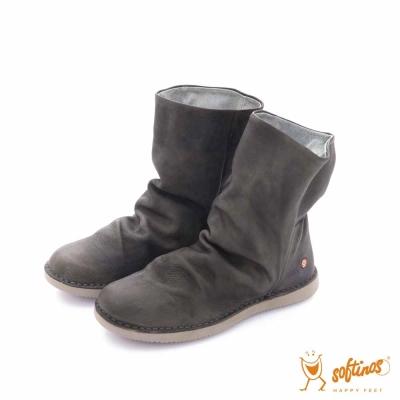 Softinos(女)- HAPPY FEET 自然皺褶牛皮可折式造型中筒靴- 墨綠