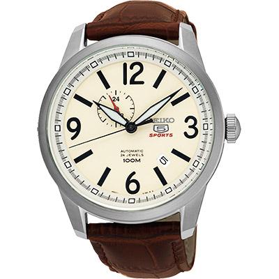 SEIKO 精工5號盾牌24石紳士風機械腕錶(SSA295J1)-米黃x咖啡/42mm