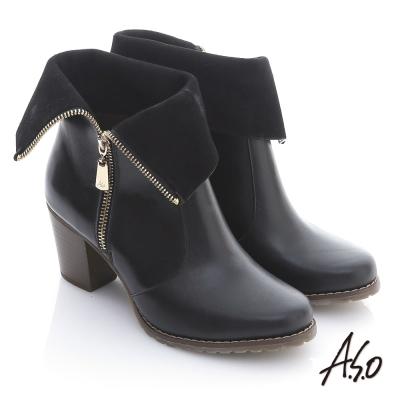 A.S.O 機能美型 牛皮拉鍊翻摺綁粗跟短靴 黑