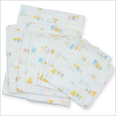 嬰兒雙層印花高密度紗布浴巾手帕 8件組