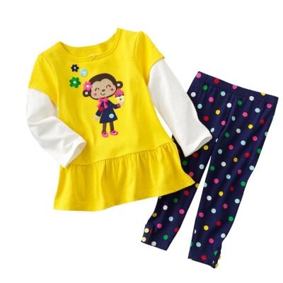 女童 甜美可愛猴子假兩件長袖套裝(衣+褲)
