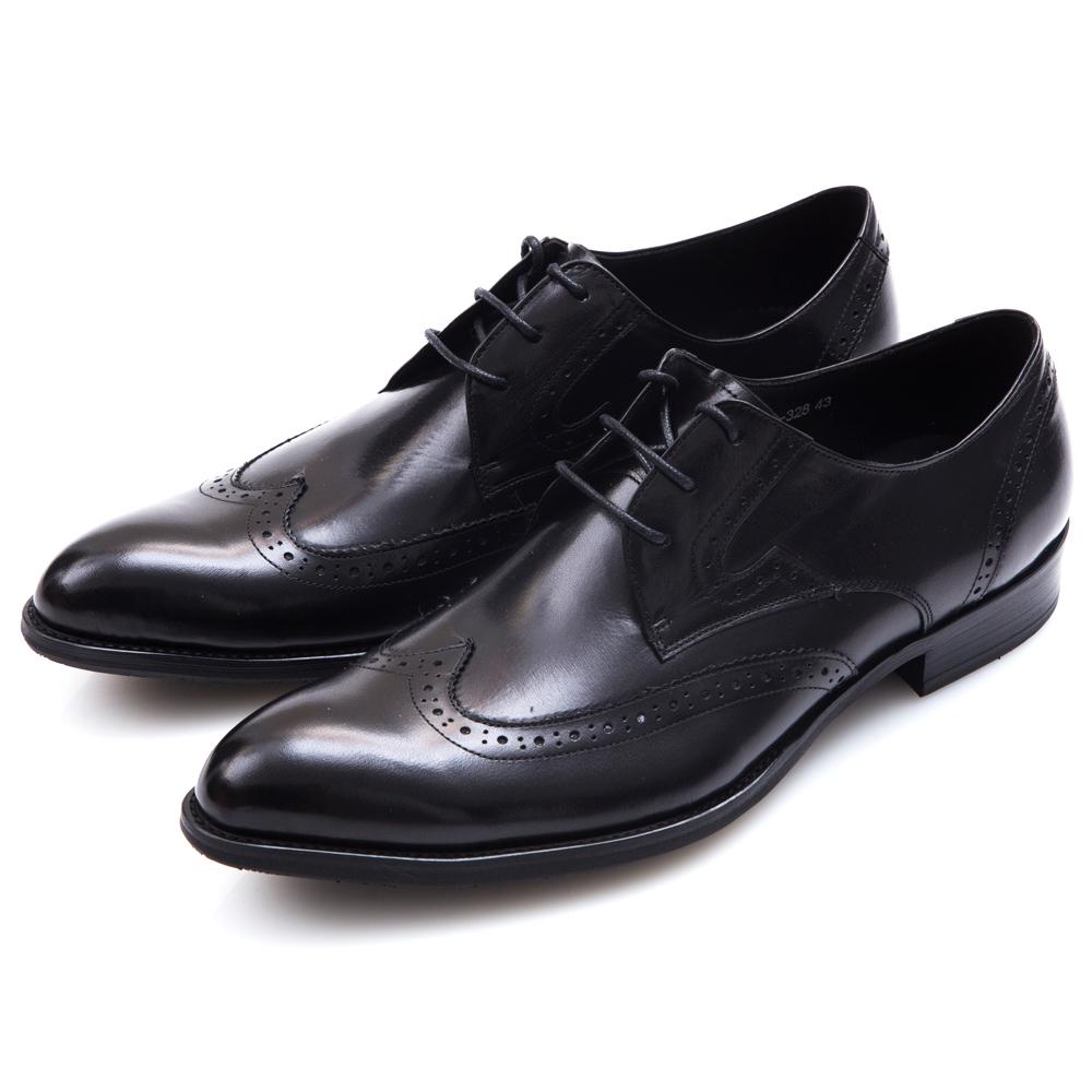 ALLEGREZZA時尚印象真皮藝紋雕花尖頭綁帶鞋黑色