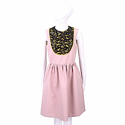 SI-JAY 蕾絲織花細節玫瑰粉小澎裙洋裝