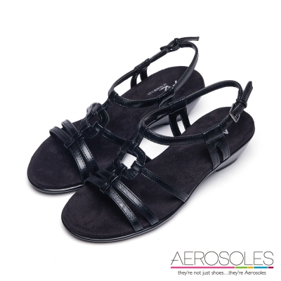 AEROSOLES-幾何十字鏤空金屬釦帶涼鞋-尊爵墨黑