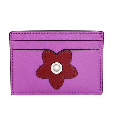 COACH紫羅蘭鉚釘花朵貼飾全皮雙面名片/票卡夾