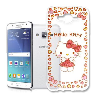 Hello Kitty 三星 Galaxy J7 浮雕彩繪透明軟殼(甜心豹紋)