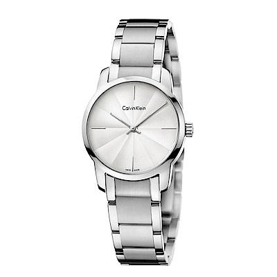 CK CALVIN KLEIN City 都會系列銀色面盤小錶面女錶-31mm