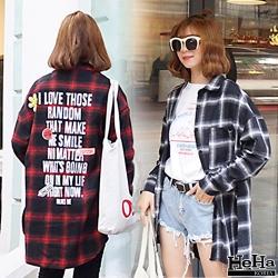 罩衫 寬鬆格紋長袖襯衫外套 二色-mini嚴選