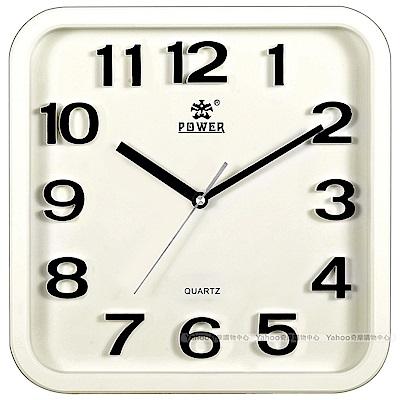 POWER霸王鐘錶-時尚立體字掛鐘-月光白-PW-917-WKS-33.5CM