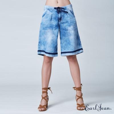 Earl Jean 高腰蜜桃肌五分牛仔寬褲-中藍-女