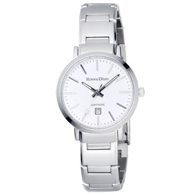 Roven Dino羅梵迪諾 色彩抉擇時尚日期腕錶-銀/30mm