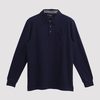 Hang Ten - 男裝 - 經典美式純色口袋POLO衫 - 深藍