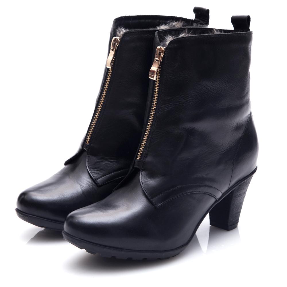 G.Ms. MIT系列-2WAY翻領仿皮草拉鍊粗跟短靴-黑色