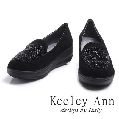 Keeley Ann低調熟女~雅緻水鑽全真皮厚底樂福鞋(黑色)