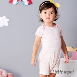 Little moni 純棉家居系列條紋短袖連身裝 淺珊瑚