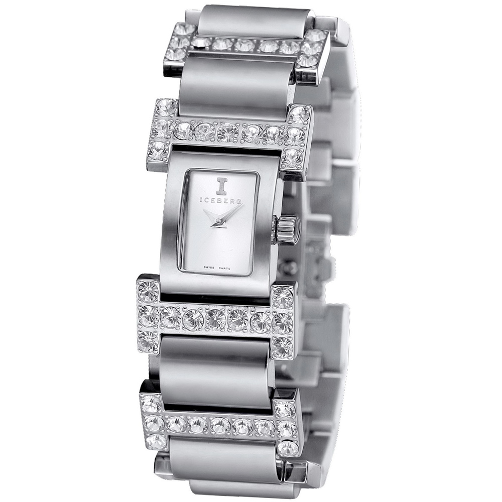 ICEBERG 低調奢華 I 字型鑲鑽時尚腕錶-白x白鑽/24x28mm