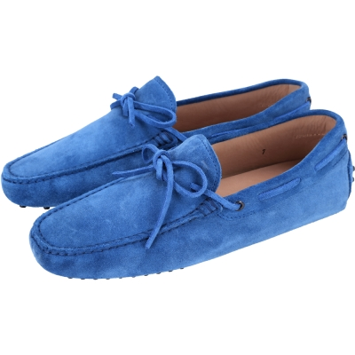 TOD'S Gommino Driving 麂皮綁帶豆豆休閒鞋(男鞋/藍色)
