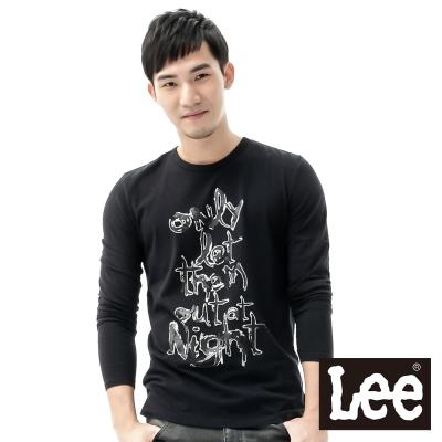 Lee-長袖T恤-金蔥燙印文字印刷-男款-黑