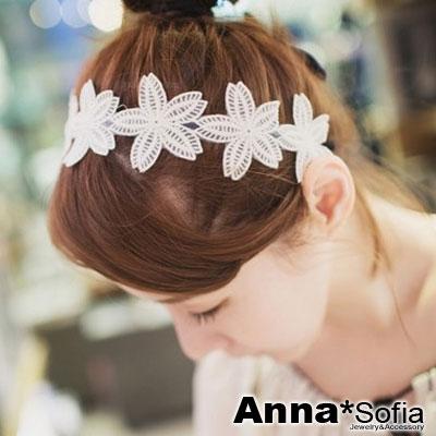 AnnaSofia-唯美朵漾蕾絲-新娘髮飾韓式髮箍-白系