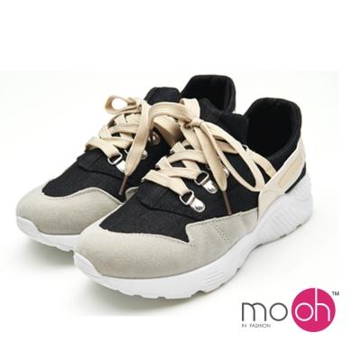 mo.oh-拚色鐵扣厚底潮流運動鞋休閒鞋-黑