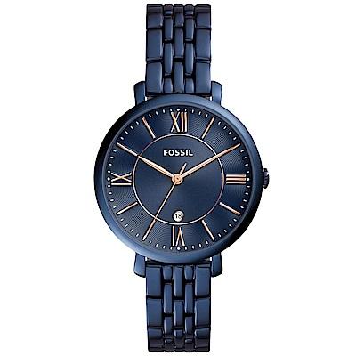 FOSSIL Jacqueline復古美型時尚手錶(ES4094)-藍/36mm